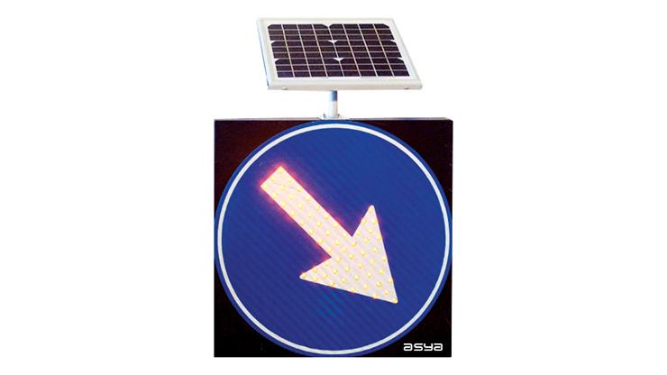 Solar LED Keep Right Traffic Sign